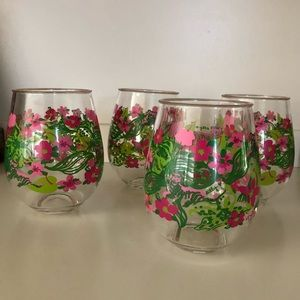 Lily Pulitzer acrylic tumbler wine drinks set of 4